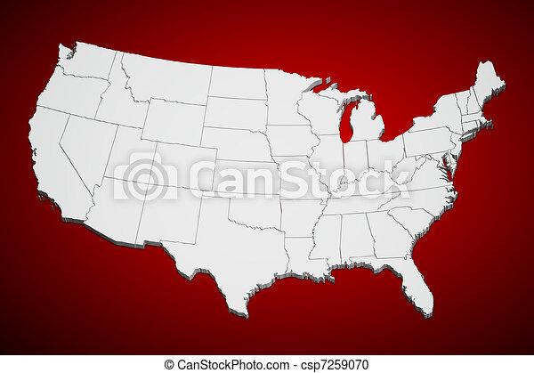staten, kaart, verenigd, rood - csp7259070