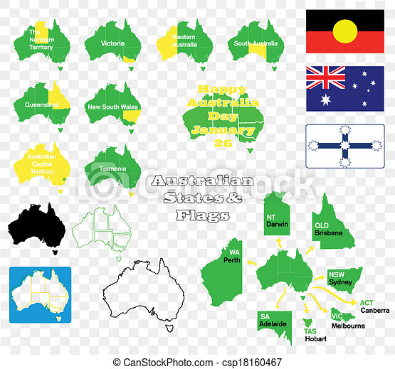 Map Of Australia Labelled.States And Flags Of Australia