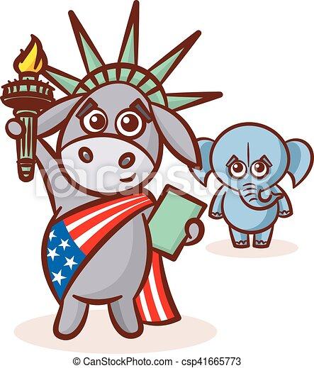states., republicans., verenigd, donkey., usa, elefant, politiek, america., illustratie, debat, symbolen, verkiezing, democraten, standbeeld, partijen, vlag, liberty. - csp41665773