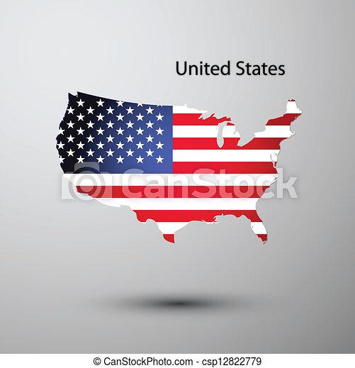 stati, mappa, bandiera, unito - csp12822779