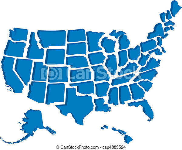stati, mappa, unito, 3d - csp4883524