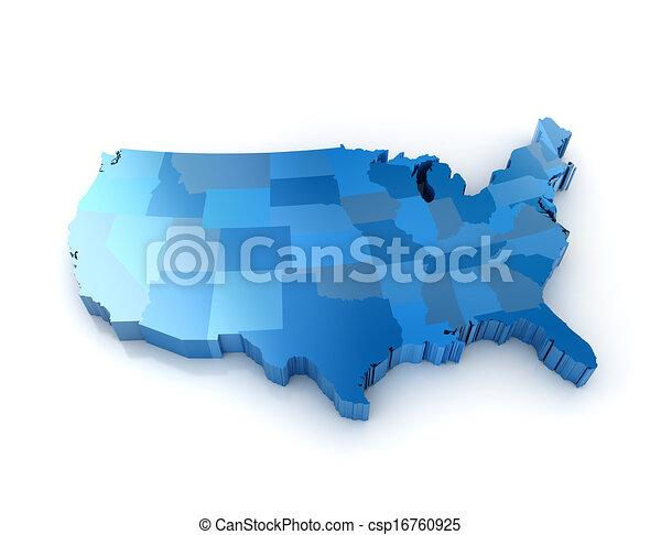 stati, mappa, unito, america, 3d - csp16760925