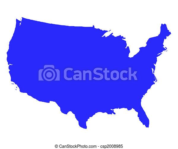 stati, mappa, unito, contorno, america - csp2008985
