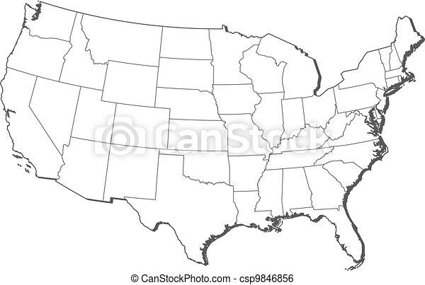 stati, mappa, unito - csp9846856