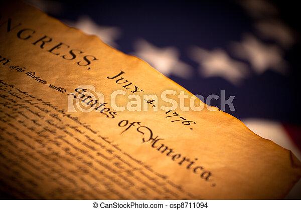 stati uniti diminuiscono, fondo, dichiarazione, indipendenza - csp8711094