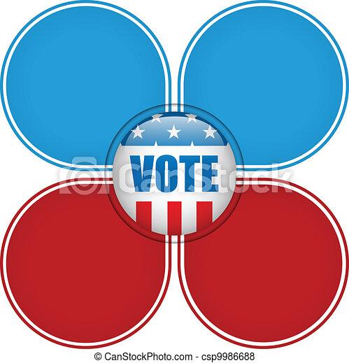 stati, voto, unito, elezione, button. - csp9986688