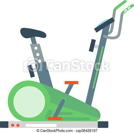 Stationary exercise bike sport gym machine health activity vector
