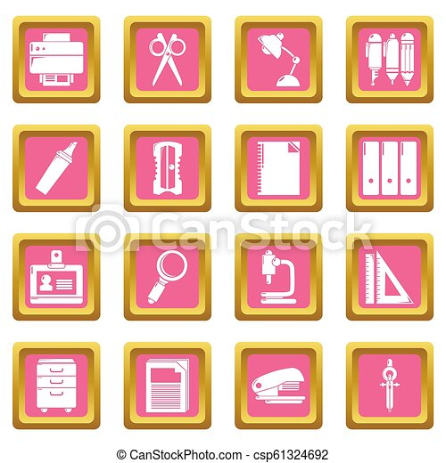 Stationery icons set pink square - csp61324692