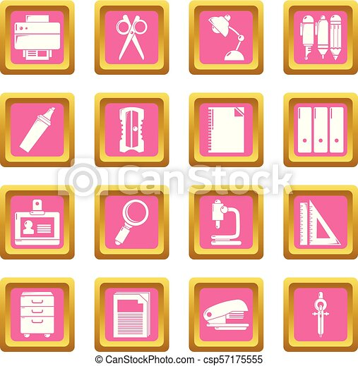 Stationery icons set pink square vector - csp57175555