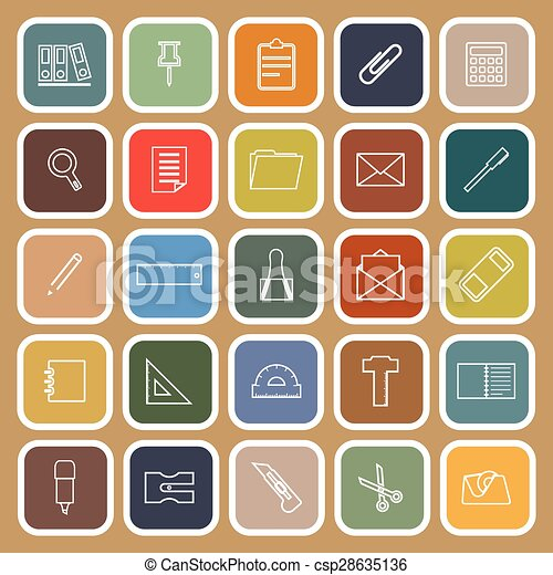 Stationery line flat icons on brown background - csp28635136