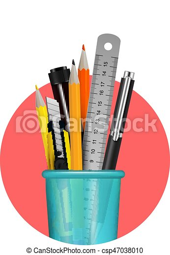 Stationery Realistic Composition Different Stationery Items In Blue Plastic Glass Composition In Red Circle On White Canstock