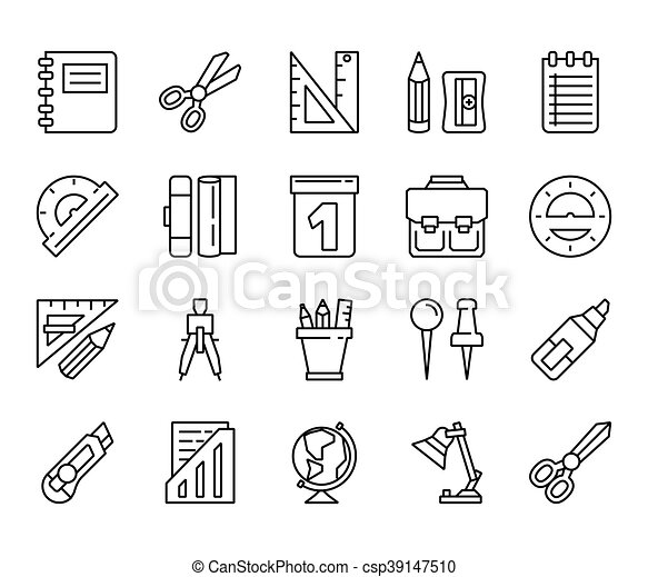 stationery. Set of linear icons - csp39147510