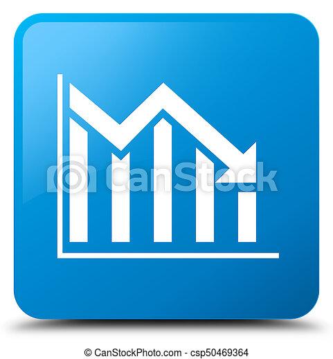 Statistics down icon cyan blue square button - csp50469364