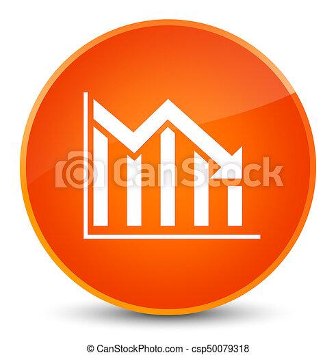 Statistics down icon elegant orange round button - csp50079318