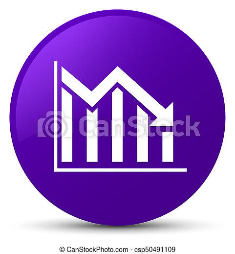 Statistics down icon purple round button - csp50491109