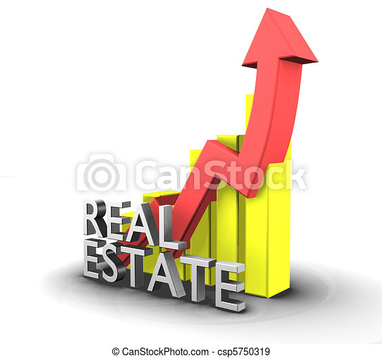 Statistics graphic with real estate word - 3d - csp5750319