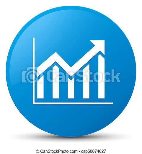 Statistics icon cyan blue round button - csp50074627