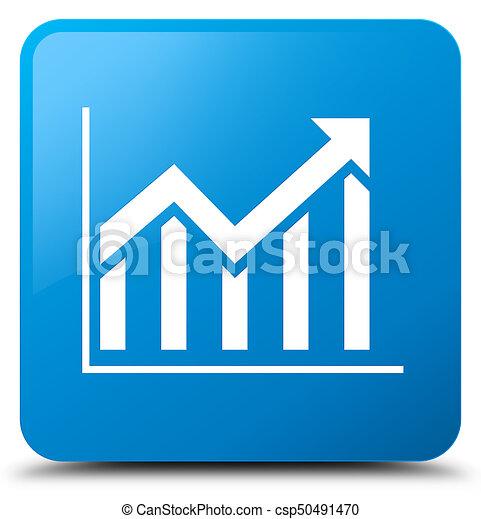 Statistics icon cyan blue square button - csp50491470