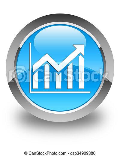 Statistics icon glossy cyan blue round button - csp34909380