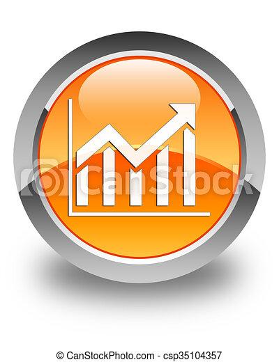 Statistics icon glossy orange round button - csp35104357
