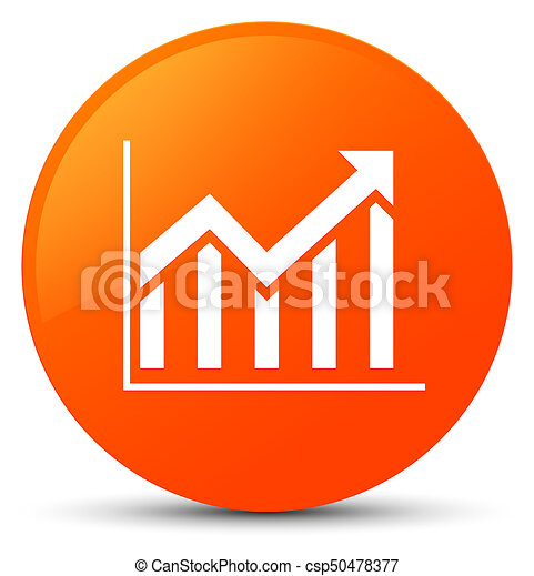 Statistics icon orange round button - csp50478377
