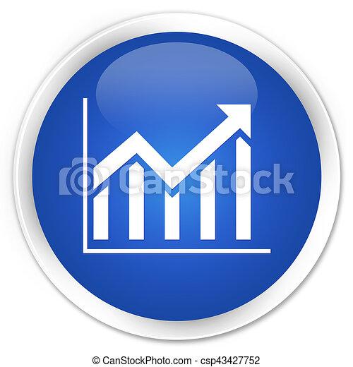 Statistics icon premium blue round button - csp43427752