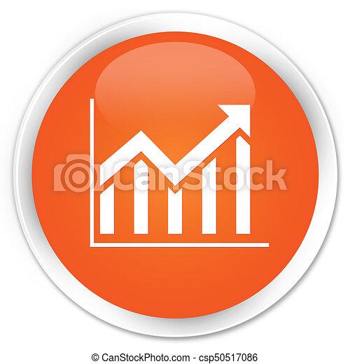 Statistics icon premium orange round button - csp50517086