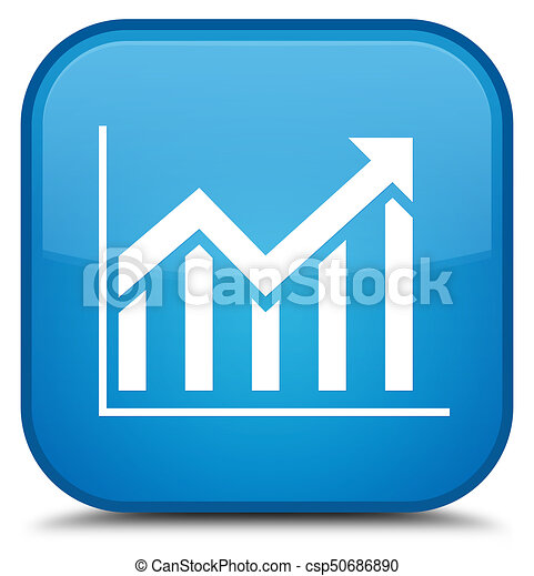 Statistics icon special cyan blue square button - csp50686890