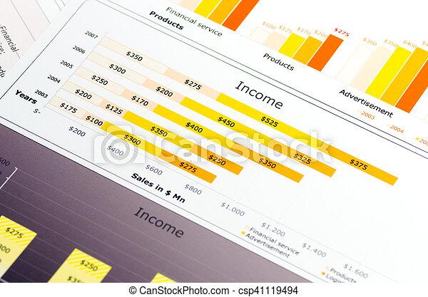 statistik, gefärbt, tabellen, verkäufe, schaubilder, bericht - csp41119494