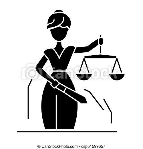 statua, ilustracja, sprawiedliwość, odizolowany, znak, wektor, czarne tło, ikona - csp51599657