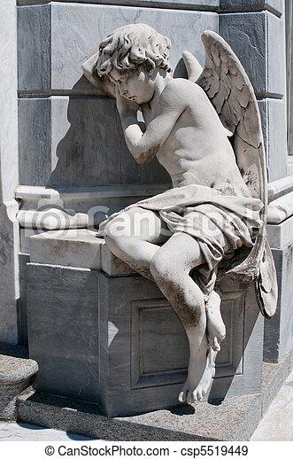 statue, ange, cimetière, recoleta, aires, buenos - csp5519449