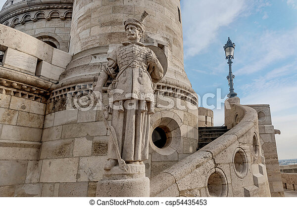 Statue at Fisherman Bastion, Buda Castle in Budapest, Hungary - csp54435453