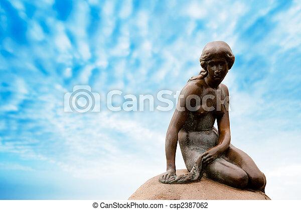 statue, copenhage, sirène, peu - csp2387062