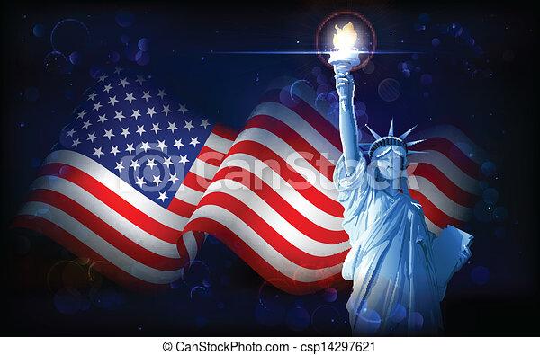 statue, drapeau, américain, liberté - csp14297621