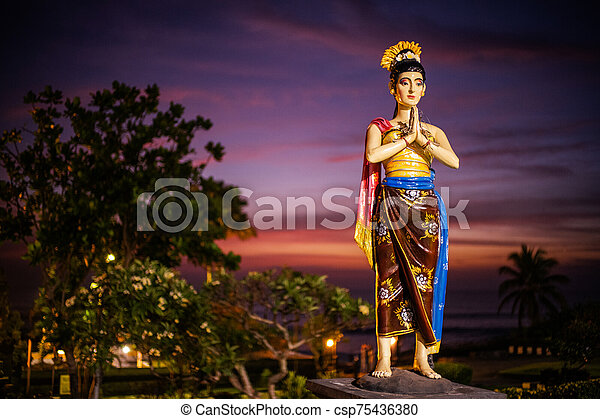 Statue in Tanah Lot temple, Bali Indonesia - csp75436380