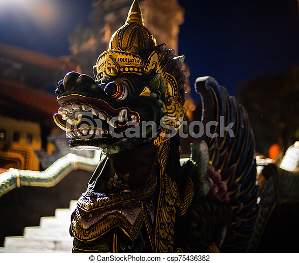 Statue in Tanah Lot temple, Bali Indonesia - csp75436382
