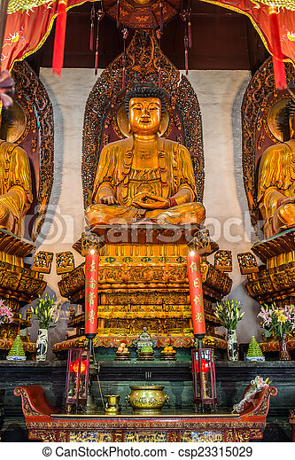statue in The Jade Buddha Temple Shanghai China - csp23315029