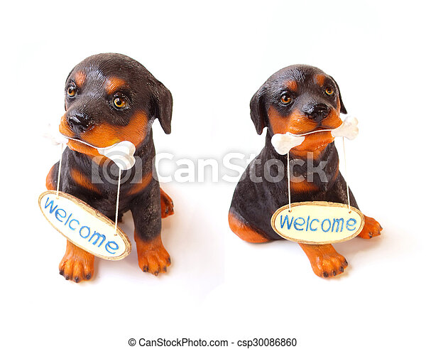 statue of a dog sitting on white background - csp30086860