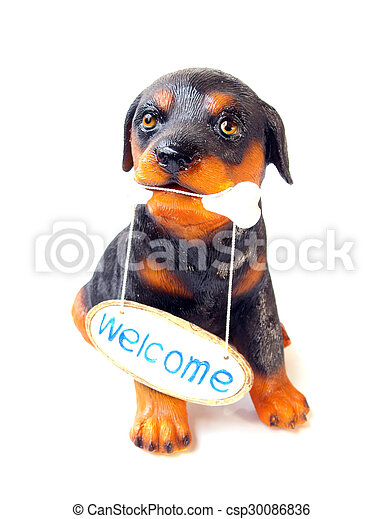 statue of a dog sitting on white background - csp30086836