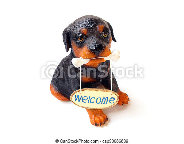 statue of a dog sitting on white background - csp30086839