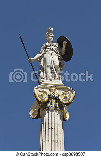 Statue of Athena at the Academy of  - csp3698507