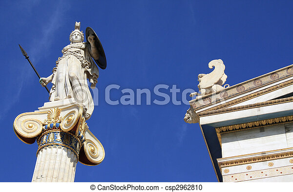 Statue of Athena outside Academy of Athens, Greece - csp2962810