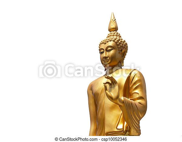 Statue of Buddha in Thailand on white background - csp10052346