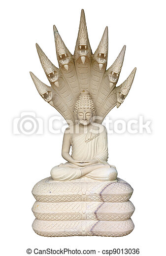 Statue of Buddha on a white background - csp9013036