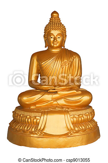 Statue of Buddha on a white background - csp9013055