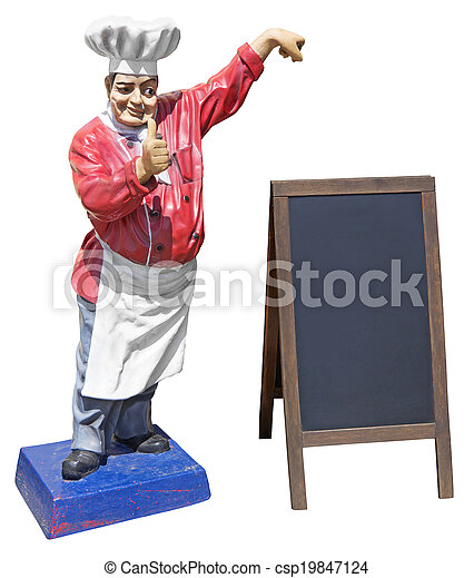 Statue of chef with menu board - csp19847124