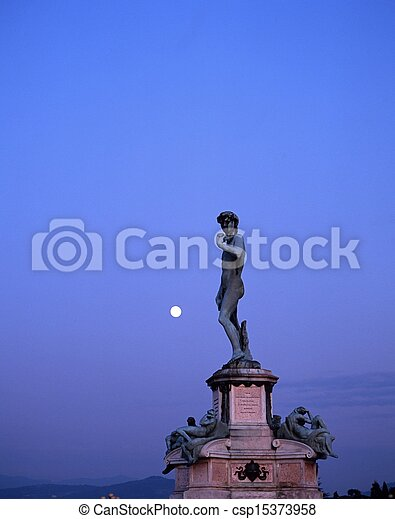 Statue of David, Florence, Italy. - csp15373958