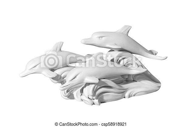 statue of dolphins on a white background - csp58918921
