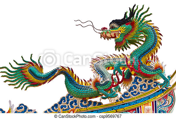 Statue of dragon over white background - csp9569767