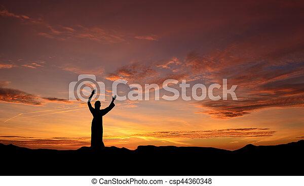 Statue Of Jesus Over Beautiful Sunset Jesus Christ Statue Over